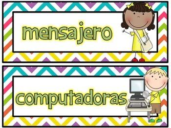 Classroom Jobs in Spanish--Multi Chevron