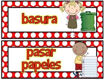 Classroom Jobs in Spanish Red Polka Dots
