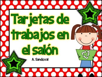 Classroom Jobs in Spanish Red Polka Dots
