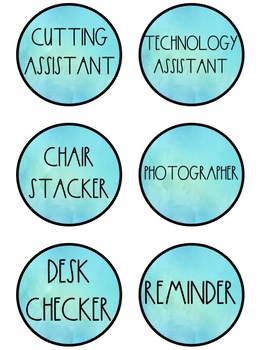 Classroom Jobs in Watercolor - Editable!