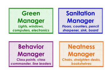 Classroom Jobs labels for bulletin board