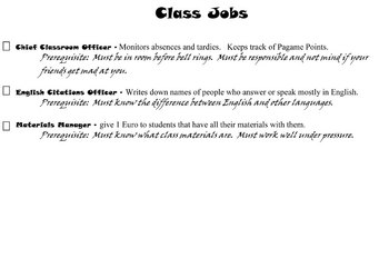 Classroom Jobs to help build classroom management