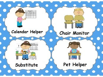 Classroom Jobs with Blue Polka Dots.