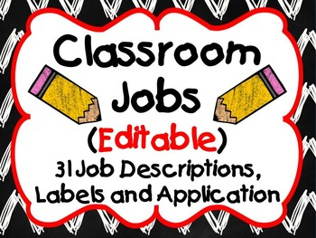Classroom Jobs with Descriptions and Application (Editable)