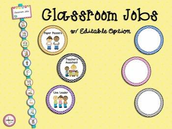 Classroom Jobs (with Editable Option)