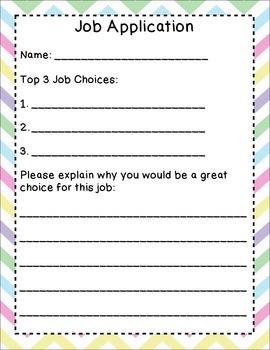 Classroom Jobs with Job Application- Bright Chevron