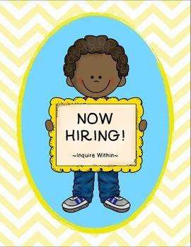 Classroom Jobs with Job Application- Yellow Chevron
