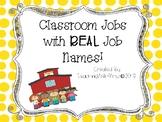 Classroom Jobs with Real Job Names