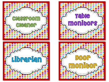 Classroom Jobs with a Candyland Theme.