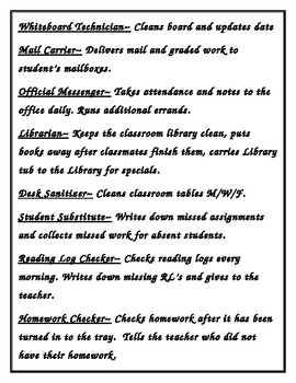 Classroom Jobs with descriptions