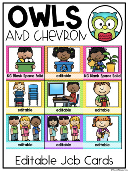 Classroom Jobs in an Owls and Chevron Decor Theme with Editable Cards included!