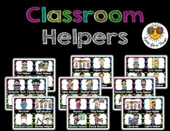 Classroom Jobs/Classroom Helper {Editable} - Black and Bright Polka Dots Edition