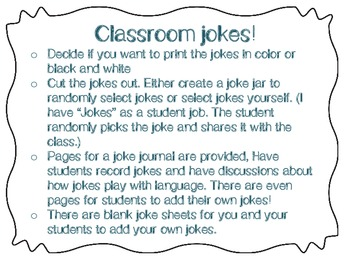Classroom Jokes: Keep 'em laughing and using language in a playful way