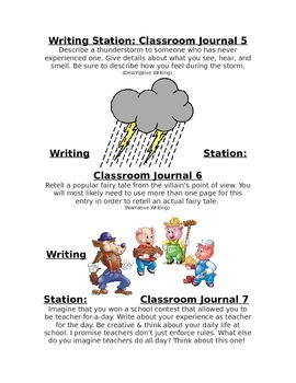 Classroom Journal Prompt Covers