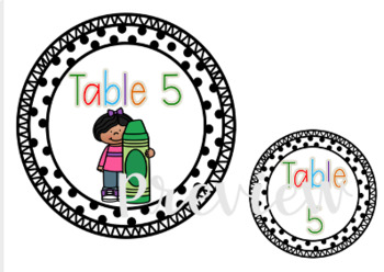 Classroom Kids Table Signs