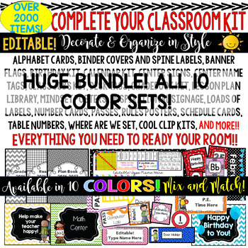 Classroom Decor Kit (ALL COLORS) Perfect For Your Decorating & Organizing.