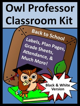 Back to School Activities: Owl Professor Lesson Planner and Classroom Kit