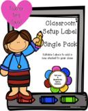 Classroom Label  - **Editable** - Single Set