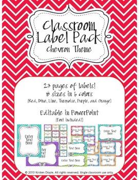 Classroom Label Pack (Editable) - Chevron