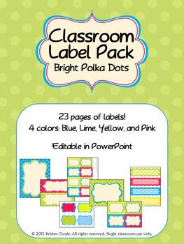 Classroom Label Pack (Editable) - Polka Dot Brights