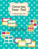 Classroom Label Pack (Editable) - Turquoise Dots