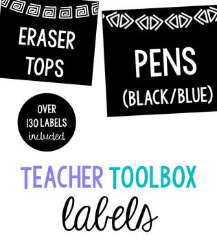 Classroom Label Set: Line Borders