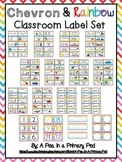 Classroom Label Set (Rainbow Chevron): Supplies, Library,