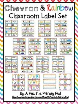 Classroom Label Set (Rainbow Chevron): Supplies, Library,