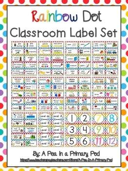 Classroom Label Set (Rainbow Dot)