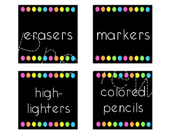 Classroom Supply Labels (Target Squares)