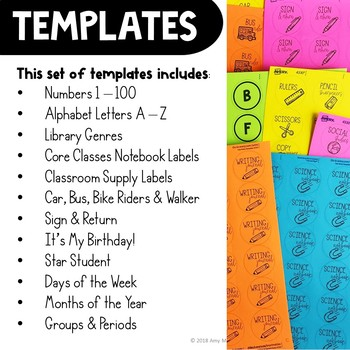 classroom label templates for avery printable stickers tpt