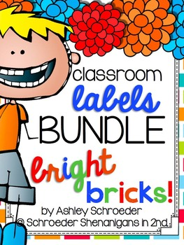 Classroom Label and Decor BUNDLE - Bright Bricks