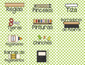 Spanish Classroom Supply Labels