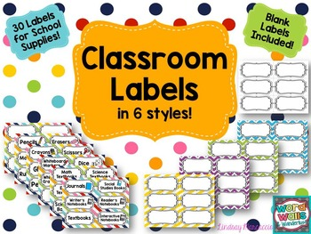 Classroom Labels for School Supplies - 6 Styles!