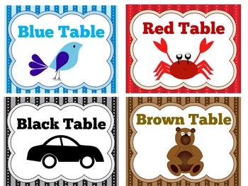 TABLE LABELS - KINDERGARTEN