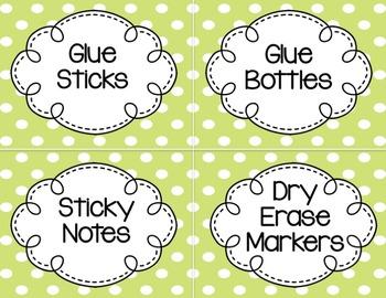 Classroom Labels (Pink & Green Polka Dots)