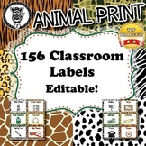 Classroom Labels - Animal Print - ZisforZebra - Editable!
