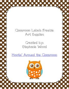 Classroom Labels-Art Supplies-Brown