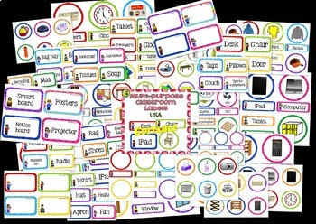 Classroom Labels BUNDLE EDITABLE USA