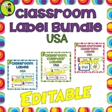 Classroom Labels BUNDLE EDITABLE USA
