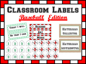 Classroom Labels- Baseball Themed- Editable *Back To School*