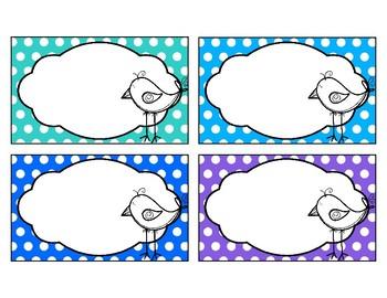 Classroom Labels - Birds & Polka Dots