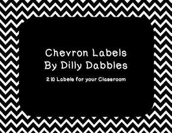 Classroom Labels ~ Black Chevron Pattern