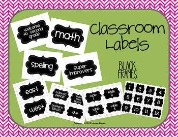 Classroom Labels {Black Frames}