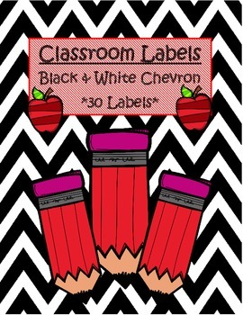 Classroom Labels-Black & White Chevron *FREEBIE*
