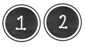 Classroom Labels - Black and White - Numbers 1-24