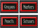 Classroom Labels, Black and White Polka Dot (Editable)