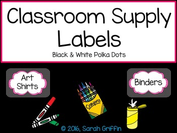 Classroom Labels ~ Black and White Polka Dots