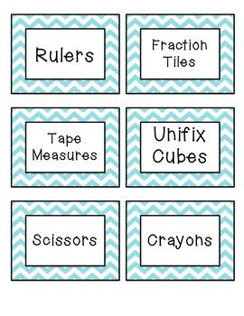 Classroom Labels - Blue Chevron