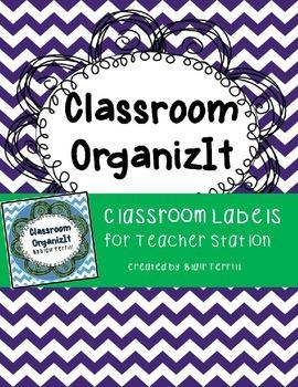 Classroom Labels Blue Chevron